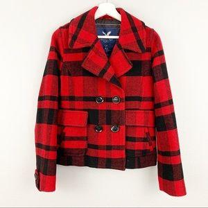 American Eagle wool plaid pea coat jacket